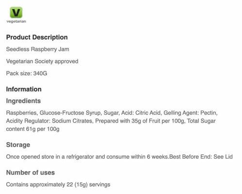Food product data Tesco