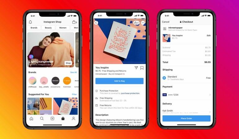 Sales channel on Instagram social media app
