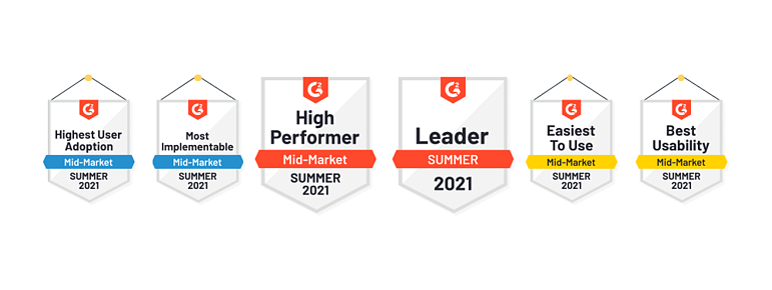 G2 Summer 2021 badges for Sales Layer