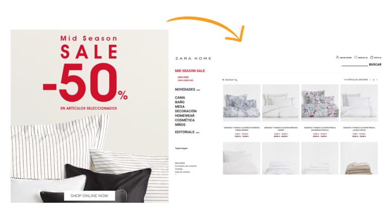 Landing page template Zara