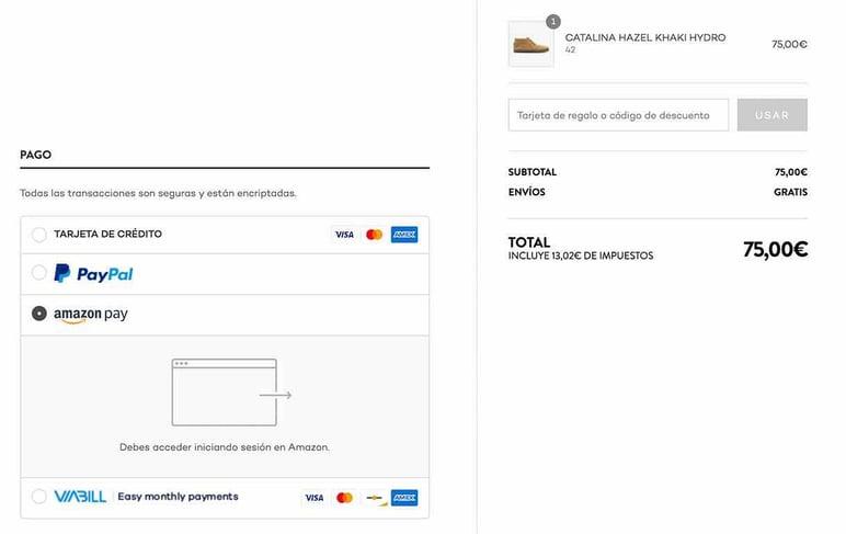 Tiendas con Amazon Pay