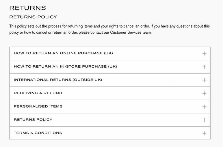 Ejemplo política de devoluciones tienda online