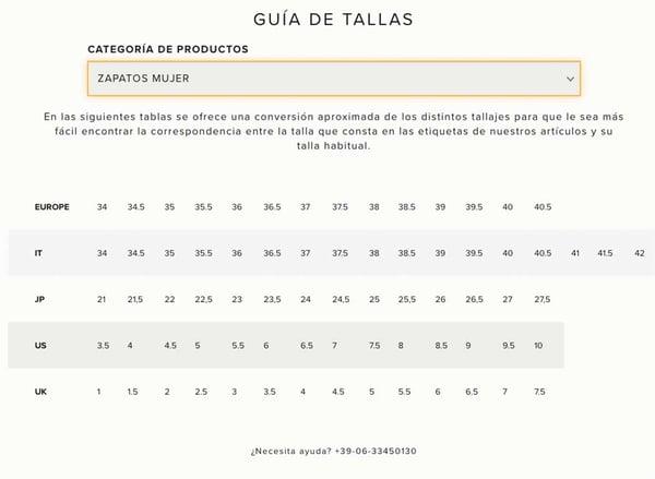 Datos técnicos en página de producto de moda