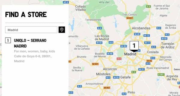 Mapa de puntos click-and-collect de Uniqlo