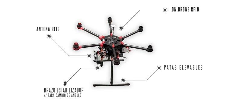 Dron de inteligencia artificial en almacén