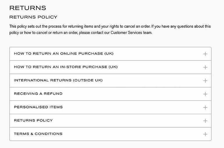 Ecommerce changes and returns policy