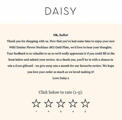 Contacto de postventa en ecommerce de Daisy London