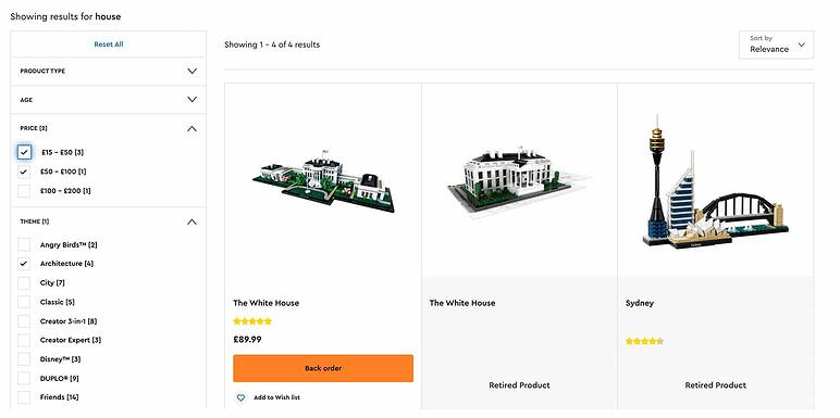 Faceted search in ecommerce