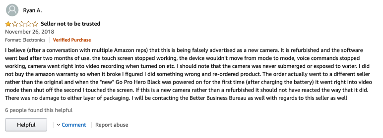 Review of false seller on Amazon