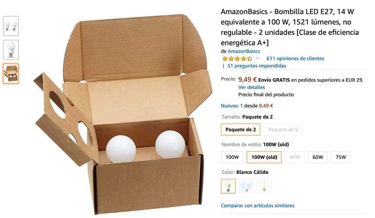 Ficha de bombilla Amazon
