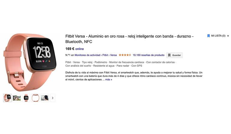Fichade producto reloj Google Shopping