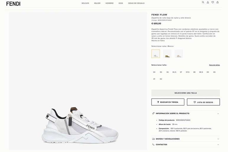Ficha técnica de producto de moda