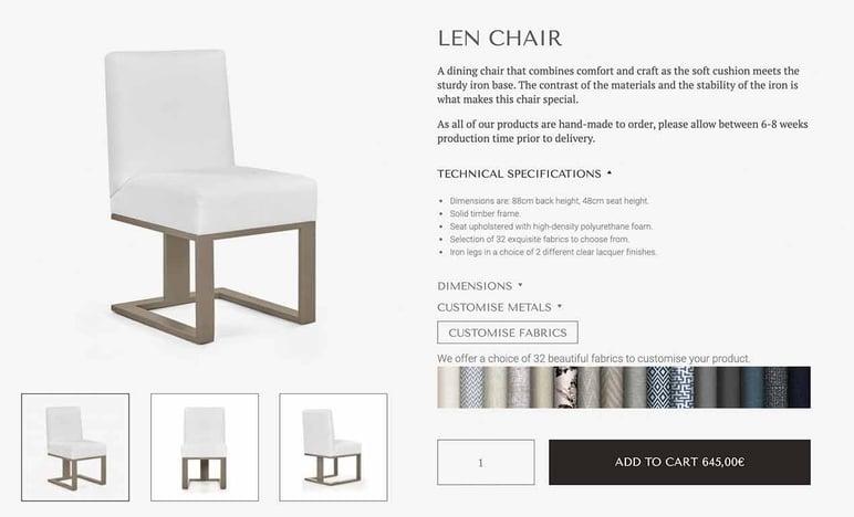 Crear ficha de producto de muebles