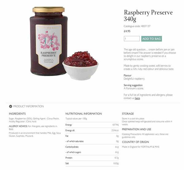 Grocery ecommerce Fortnum and Mason