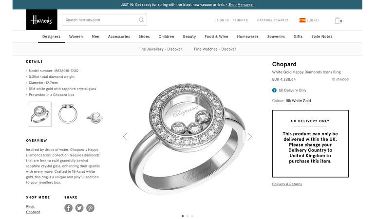 Harrod's jewelry website