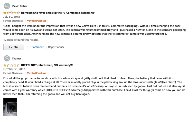 Disappointed reviews on Amazon