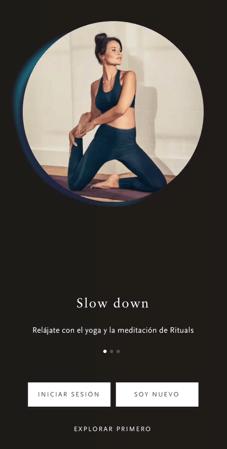 Inicio app de Rituals
