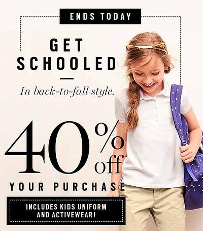 Banner ad for back to school discounts with little girl