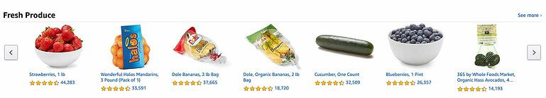 Selection of fresh products in Amazon Fresh