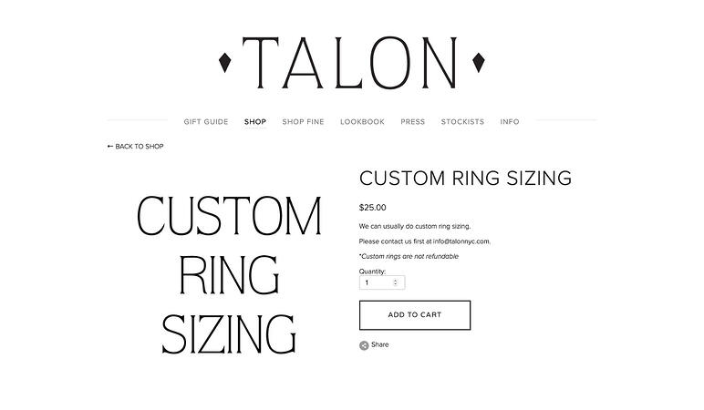 Talon jewelry website