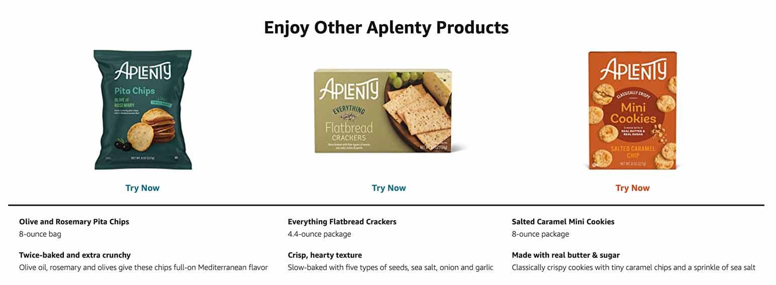 Aplenty product recommendations in Amazon Fresh