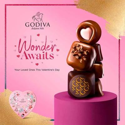 Banner de Godiva para ventas estacionales