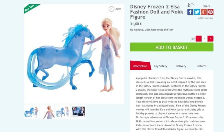 Frozen selling online toys