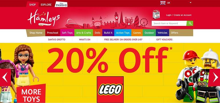 Online toys shop Hamleys