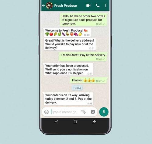 WhatsApp business shop