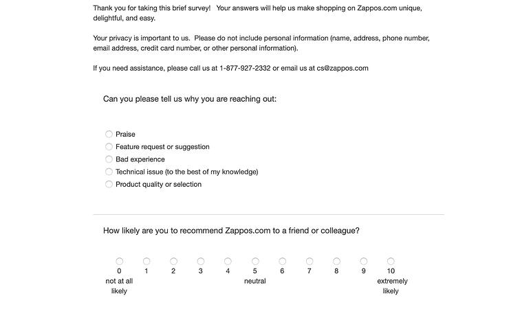 Zappos satisfaction form